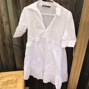 White Dress with eyelet hem